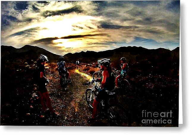 Mountain Biking Ladies Greeting Card by Scott Allison