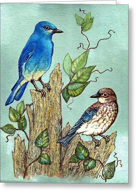 Greeting Card featuring the painting Mountain Bluebirds by VLee Watson