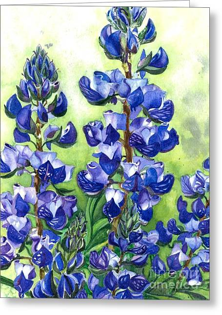 Greeting Card featuring the painting Mountain Blues Lupine Study by Barbara Jewell