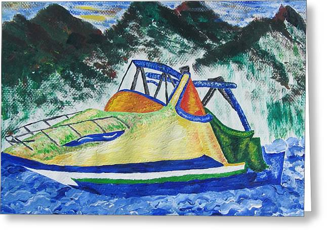 Mountain Boating Greeting Card by Debbie Nester