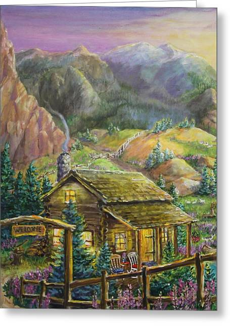 Mountain Cabin Greeting Card by Jan Mecklenburg