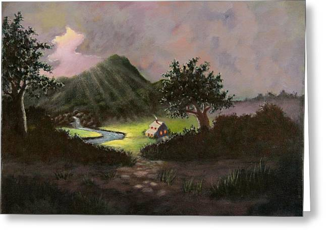 Greeting Card featuring the painting Mountain Cabin by Janet Greer Sammons