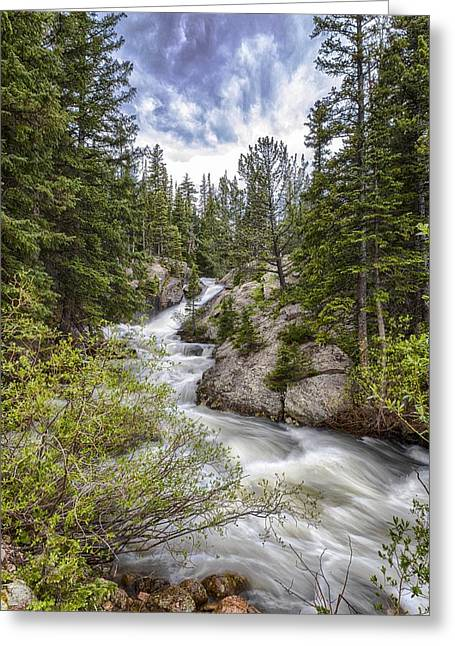 Mountain Cascades  Greeting Card by Garett Gabriel