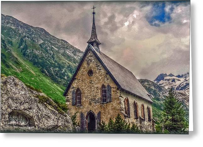 Greeting Card featuring the photograph Mountain Chapel by Hanny Heim