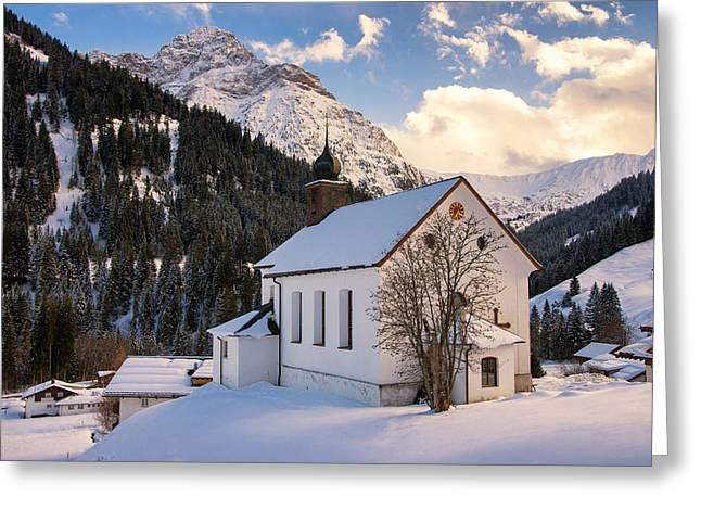 Mountain Church In The Alps - Baad Kleinwalsertal Austria In Winter Greeting Card by Matthias Hauser