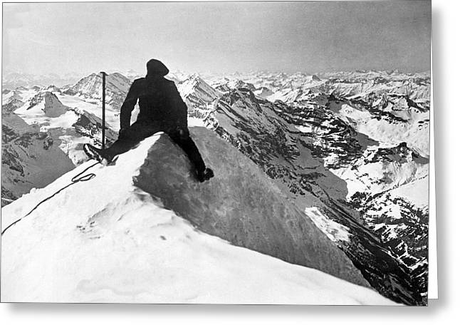 Mountain Climber On Jungfrau Greeting Card