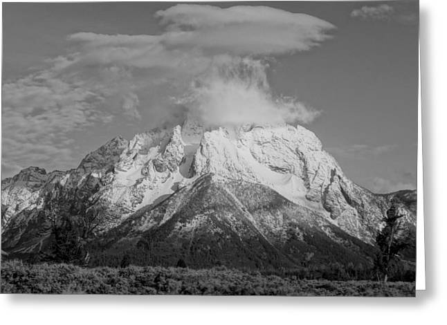 Grand Teton Black And White Greeting Card by Dan Sproul