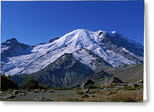 Mountain Covered With Snow, Mt Rainier Greeting Card by Panoramic Images
