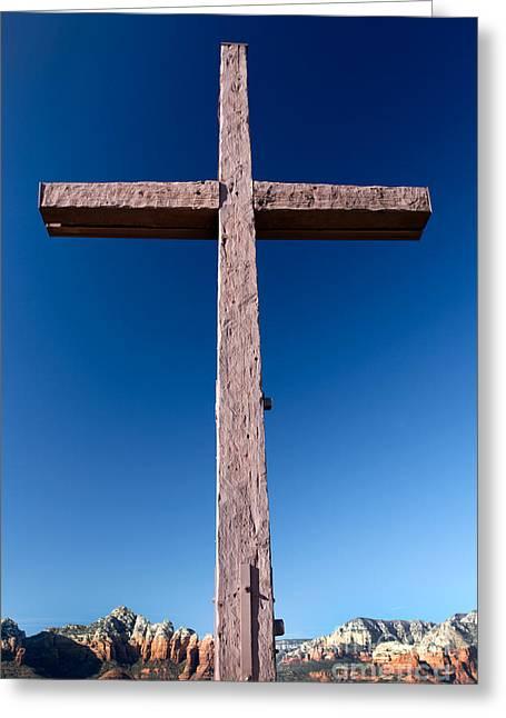 Mountain Cross Greeting Card by Karen Lee Ensley