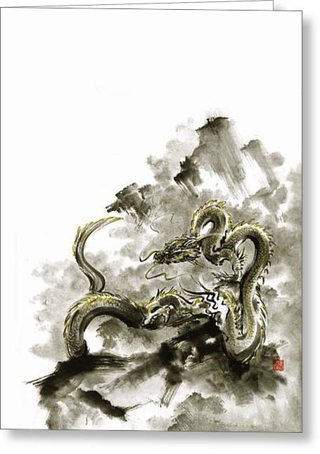 Mountain Dragon Sumi-e Ink Painting Dragon Art Greeting Card by Mariusz Szmerdt