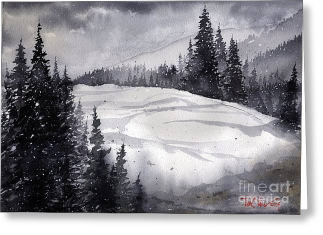 Mountain Drift Greeting Card by Tim Oliver