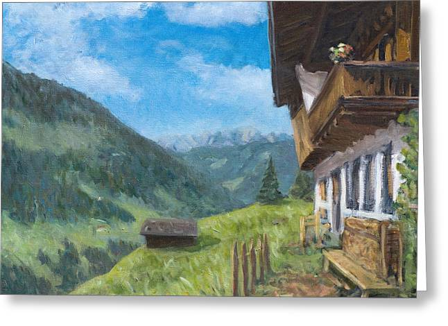Mountain Farm In Austria Greeting Card by Marco Busoni