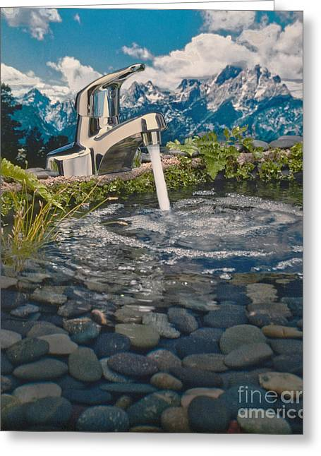 Mountain Faucet Greeting Card by Frank Bez