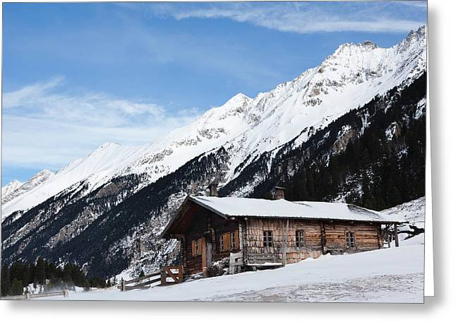 Mountain Hut Or Alpe During Winter Greeting Card