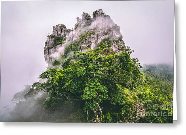 Mountain In The Cloud And Fog Greeting Card by Vasek Rak