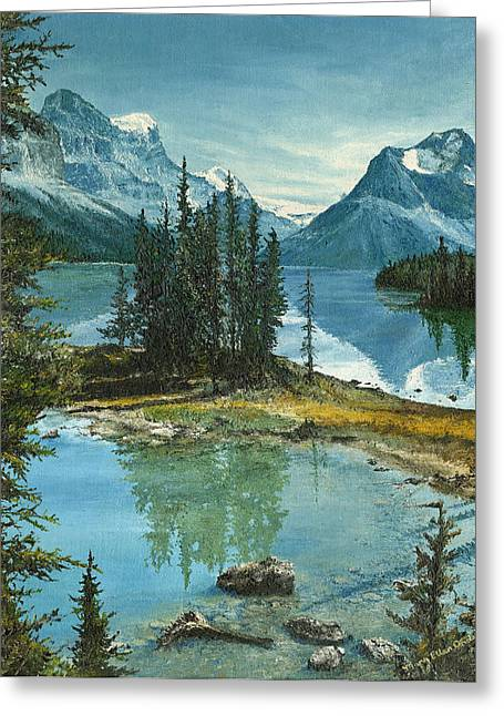 Greeting Card featuring the painting Mountain Island Sanctuary by Mary Ellen Anderson