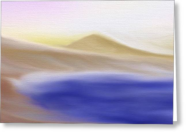 Mountain Lake - A Digital Painting Greeting Card by Gina Lee Manley