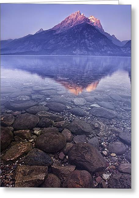 Mountain Lake Greeting Card by Andrew Soundarajan