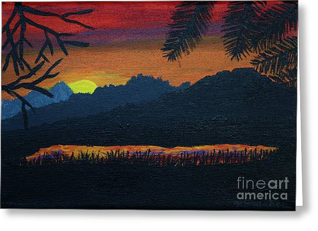 Mountain Lake At Sunset Greeting Card by Vicki Maheu