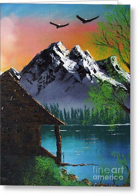 Mountain Lake Cabin W Eagles Greeting Card by Marianne NANA Betts