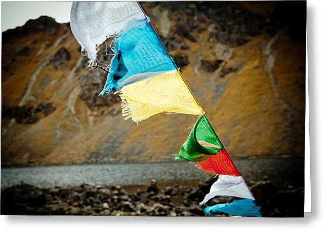 Mountain Lake Gosaikunda Flags Lungta Greeting Card