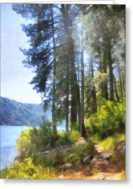 Mountain Lake In Summer Two - Nature - Art Greeting Card by Ann Powell