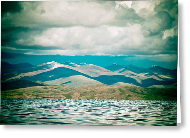 Mountain Lake In Tibet Manasarovar Greeting Card
