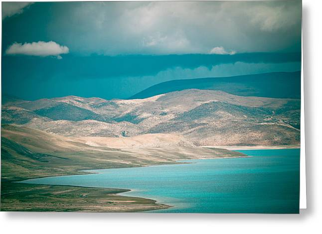 Mountain Lake In Tibet Peiku-tso Greeting Card