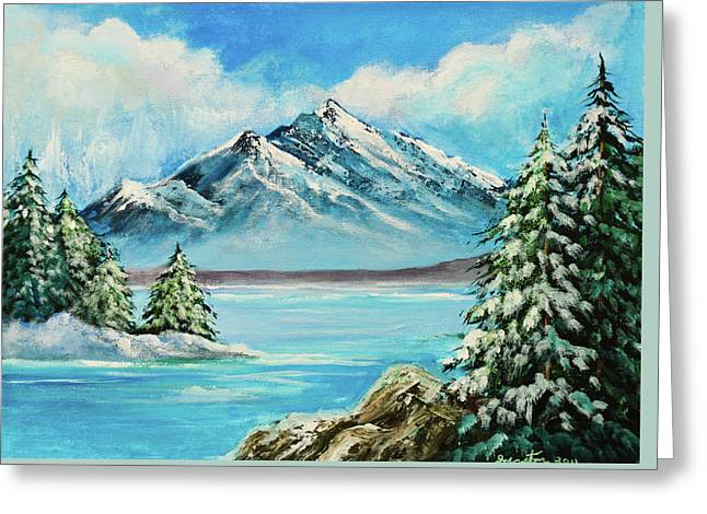 Mountain Lake In Winter Original Painting Forsale Greeting Card by Bob and Nadine Johnston