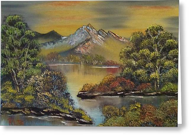 Mountain Lake Reflections Greeting Card by Lee Bowman