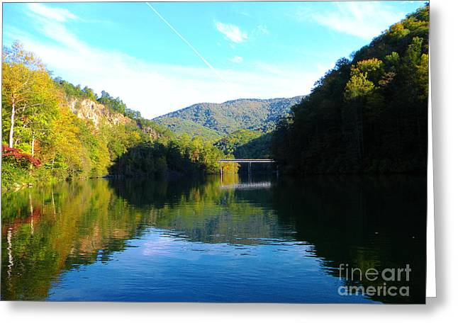 Mountain Lake Reflections Greeting Card by Lorraine Heath