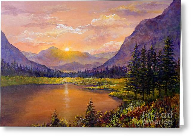 Greeting Card featuring the painting Mountain Lake Sunset by Lou Ann Bagnall