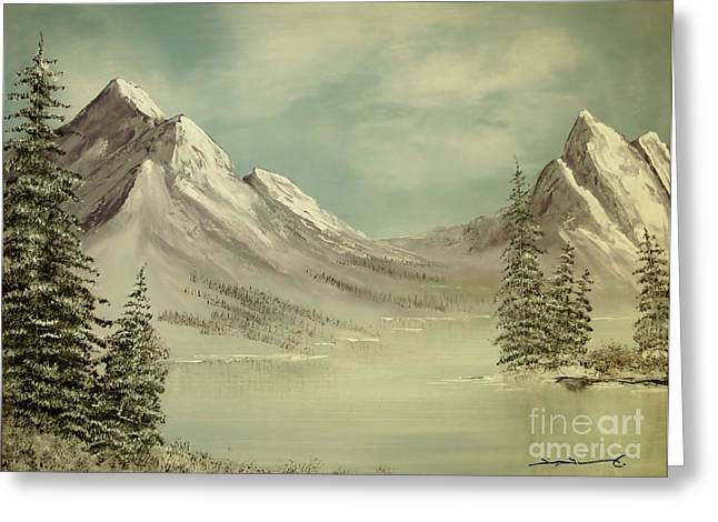 Mountain Lake Winter Scene Greeting Card