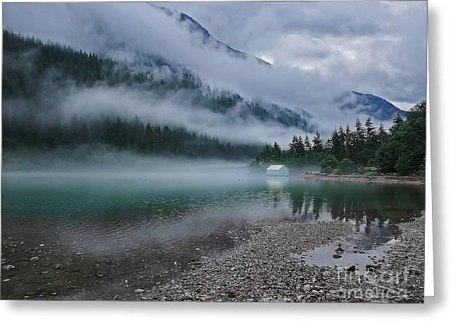 Mountain Lake With Heavy Fog Ross Lake Washington Greeting Card by Valerie Garner