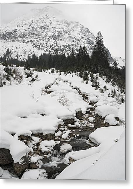 Mountain Landscape With A River In The Alps In Winter Greeting Card