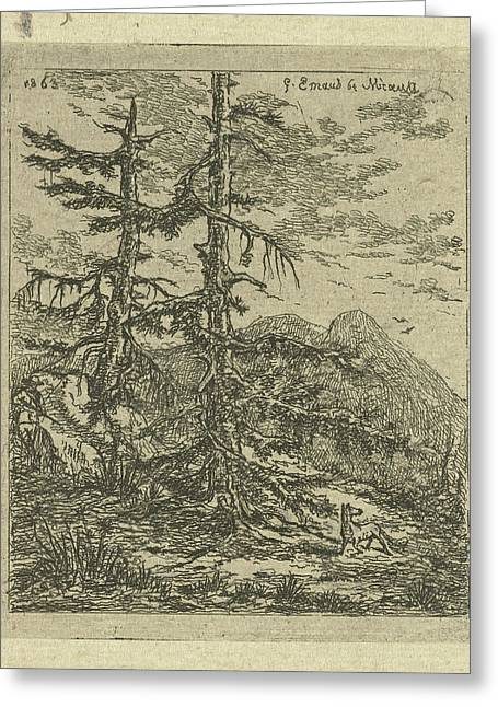 Mountain Landscape With Two Firs, Gerardus Emaus De Micault Greeting Card by Gerardus Emaus De Micault