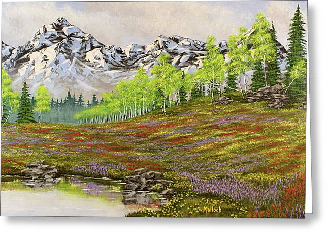 Mountain Meadow Greeting Card by Jack Malloch