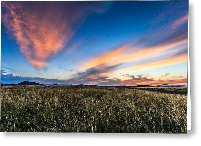 Mountain Meadow Sunset Greeting Card by Jonathan Gewirtz