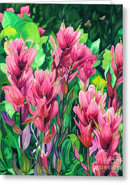 Mountain Meadows' Paintbrush Greeting Card by Barbara Jewell