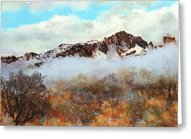 Greeting Card featuring the painting Mountain Mist by M Diane Bonaparte