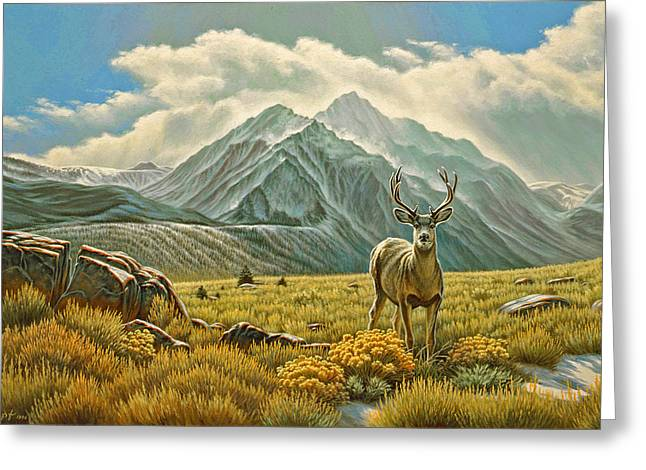 Mountain Muley Greeting Card by Paul Krapf