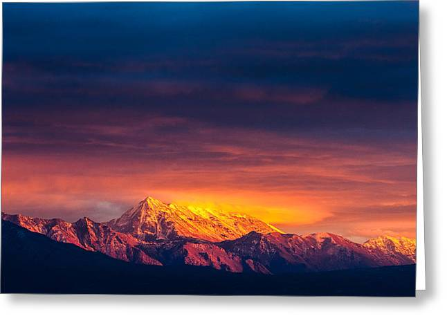 Mountain On Fire Greeting Card