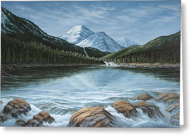 Mountain Paradise Greeting Card by Del Malonee