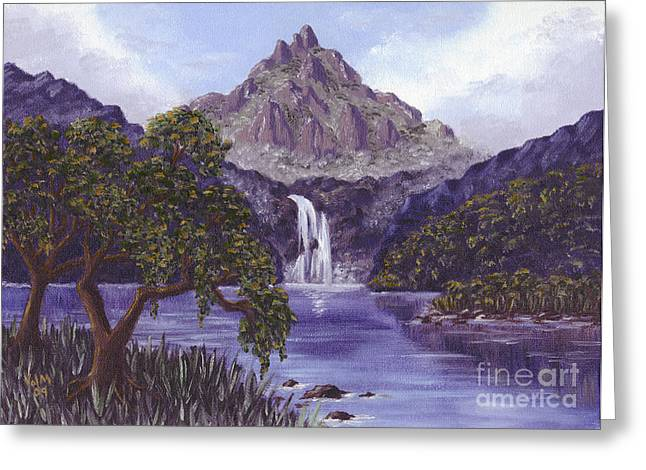Greeting Card featuring the painting Mountain Peak by Val Miller