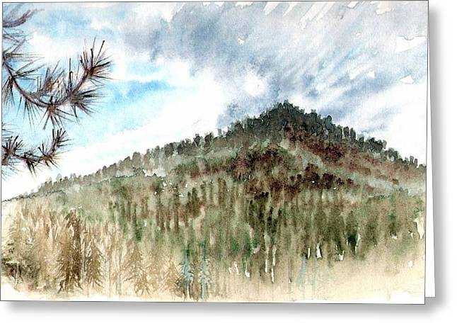 Greeting Card featuring the painting Mountain Rain by Ashley Kujan