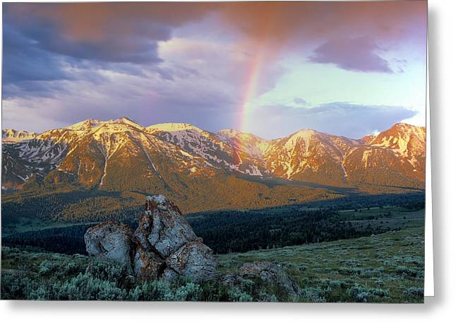 Mountain Rainbow Greeting Card by Leland D Howard