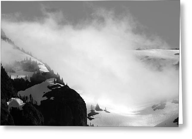 Mountain Range Black And White Three Greeting Card by Diane Rada