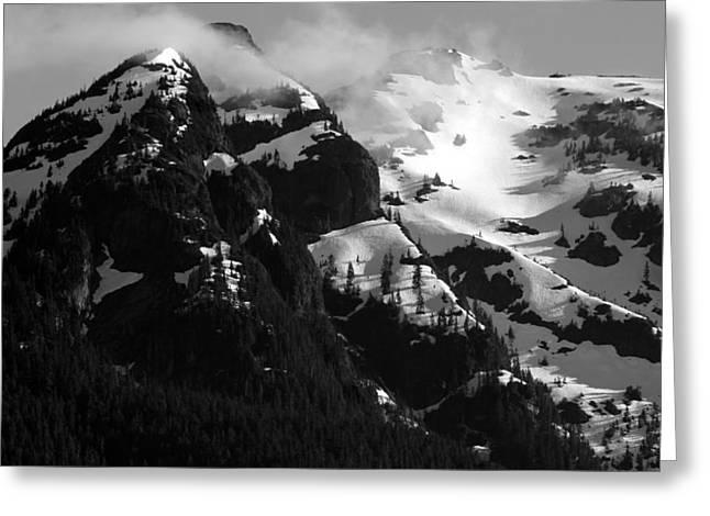 Mountain Range Black And White Two Greeting Card by Diane Rada