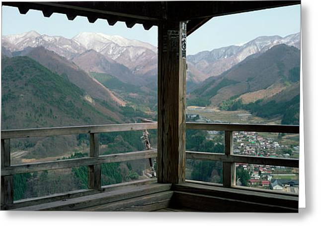 Mountain Range From A Balcony Greeting Card by Panoramic Images