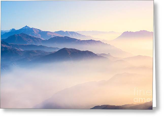 Mountain Range With Visible Silhouettes Greeting Card